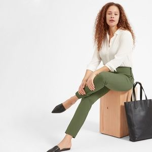 Everlane Side Zip Stretch Cotton Green Pants US 6